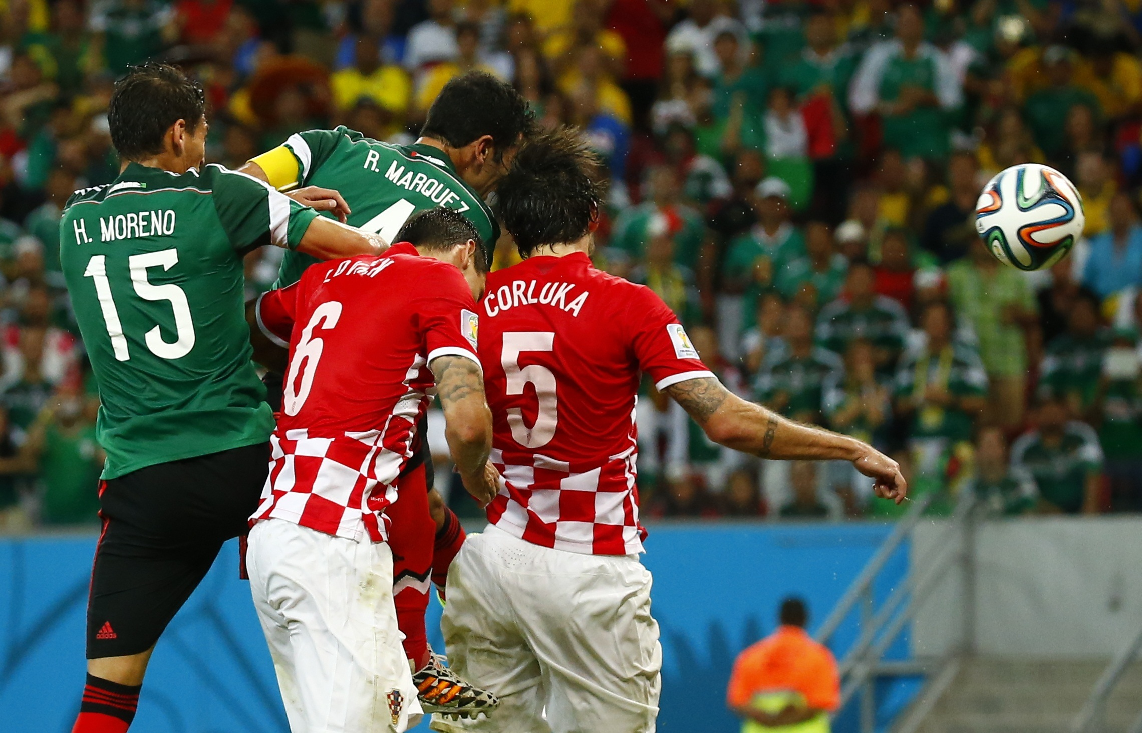 6b799ac73c9 Rafael Marquez powers home a header to put Mexico in front. Photo: Reuters