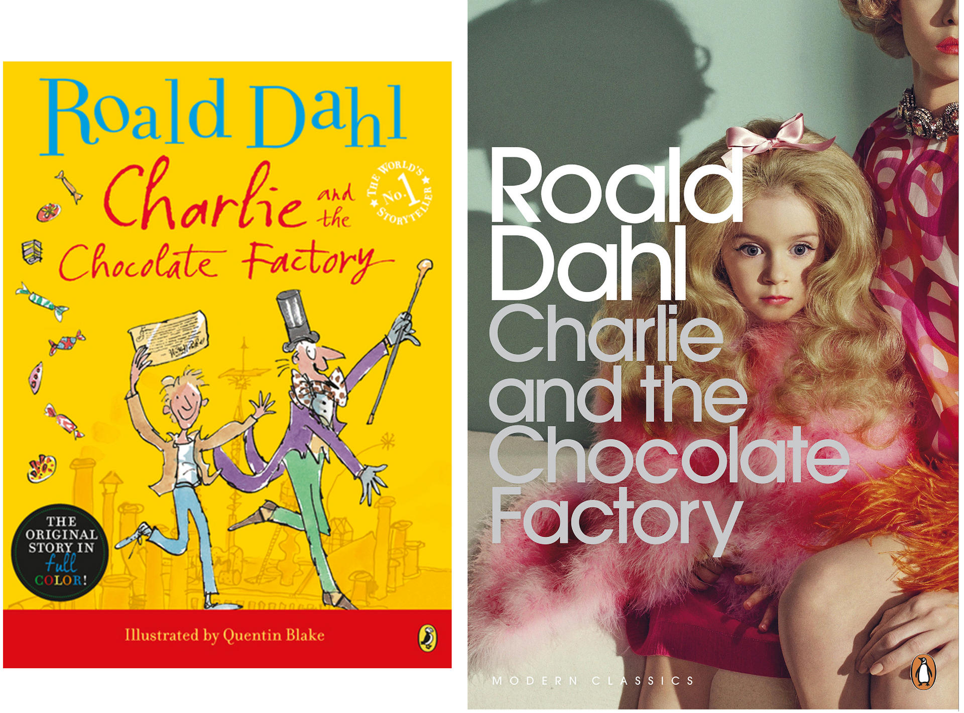 cover art for charlie and the chocolate factory shows dark side of quentin blake s whimsical cover versus the new design photos the washington post penguin