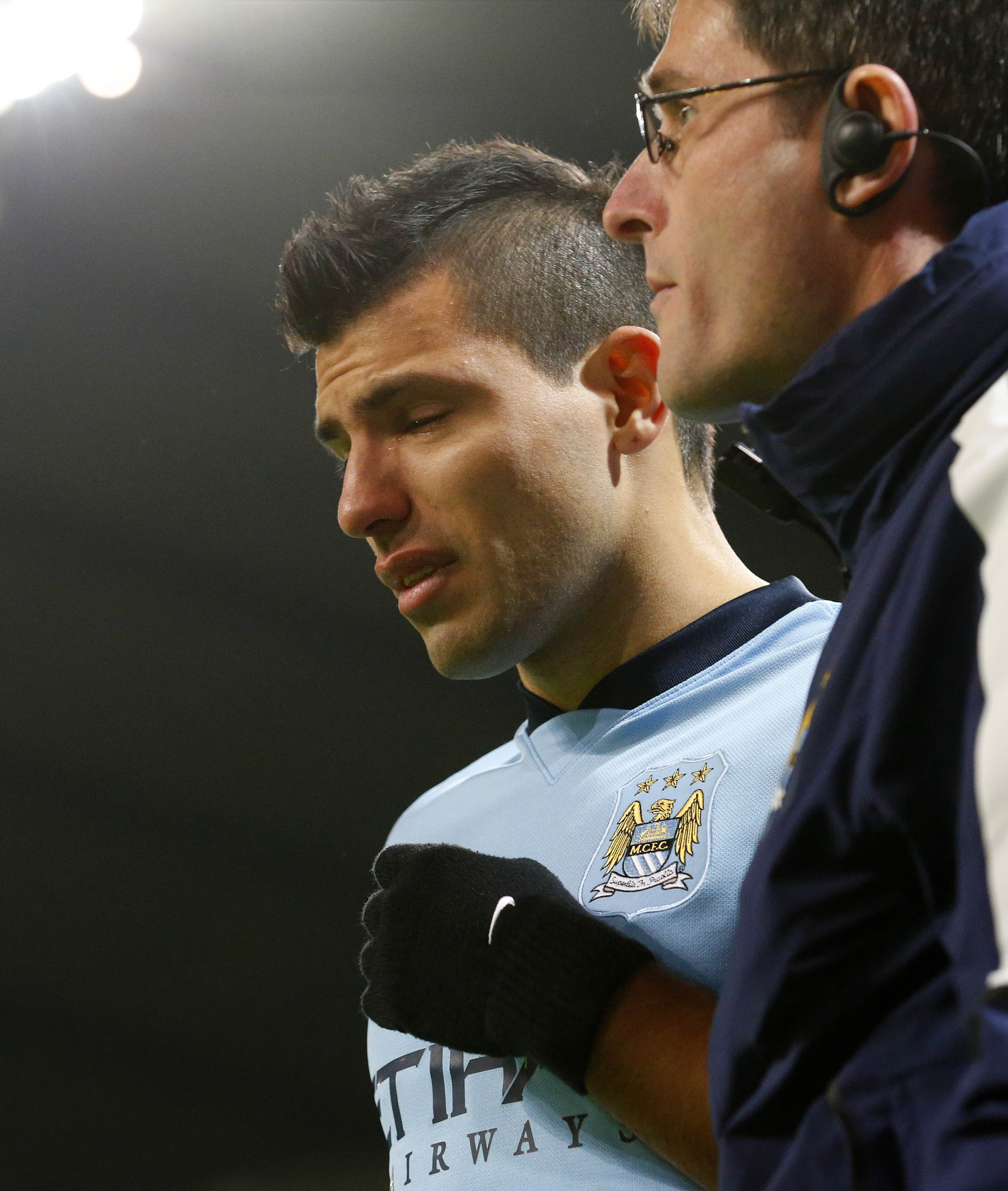 Aguero Goes Off In Tears Photo AFP