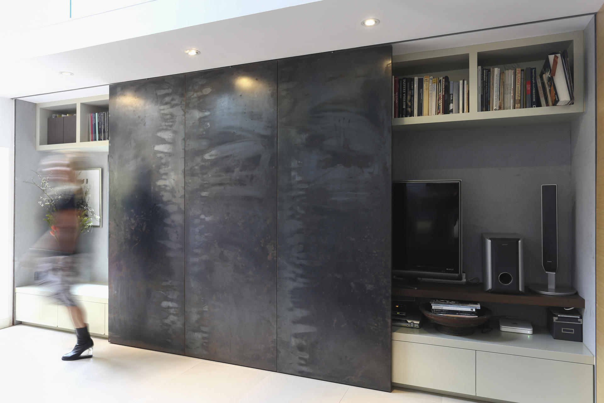 The Double Height Wall Was Painted In Faux Concrete Textured Paint From Dulux Duluxhk