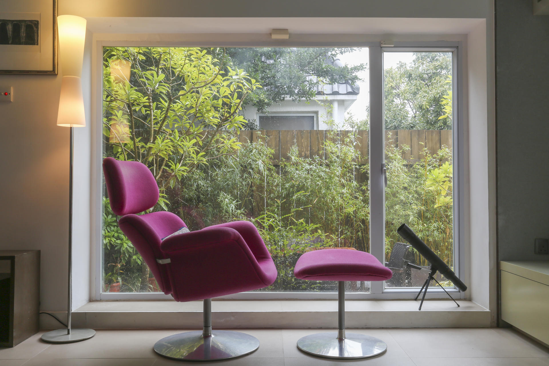 Living Room Detail Next To A Window In The Is Telescope And Pierre Paulin Tulip Chair Footstool From Artifort