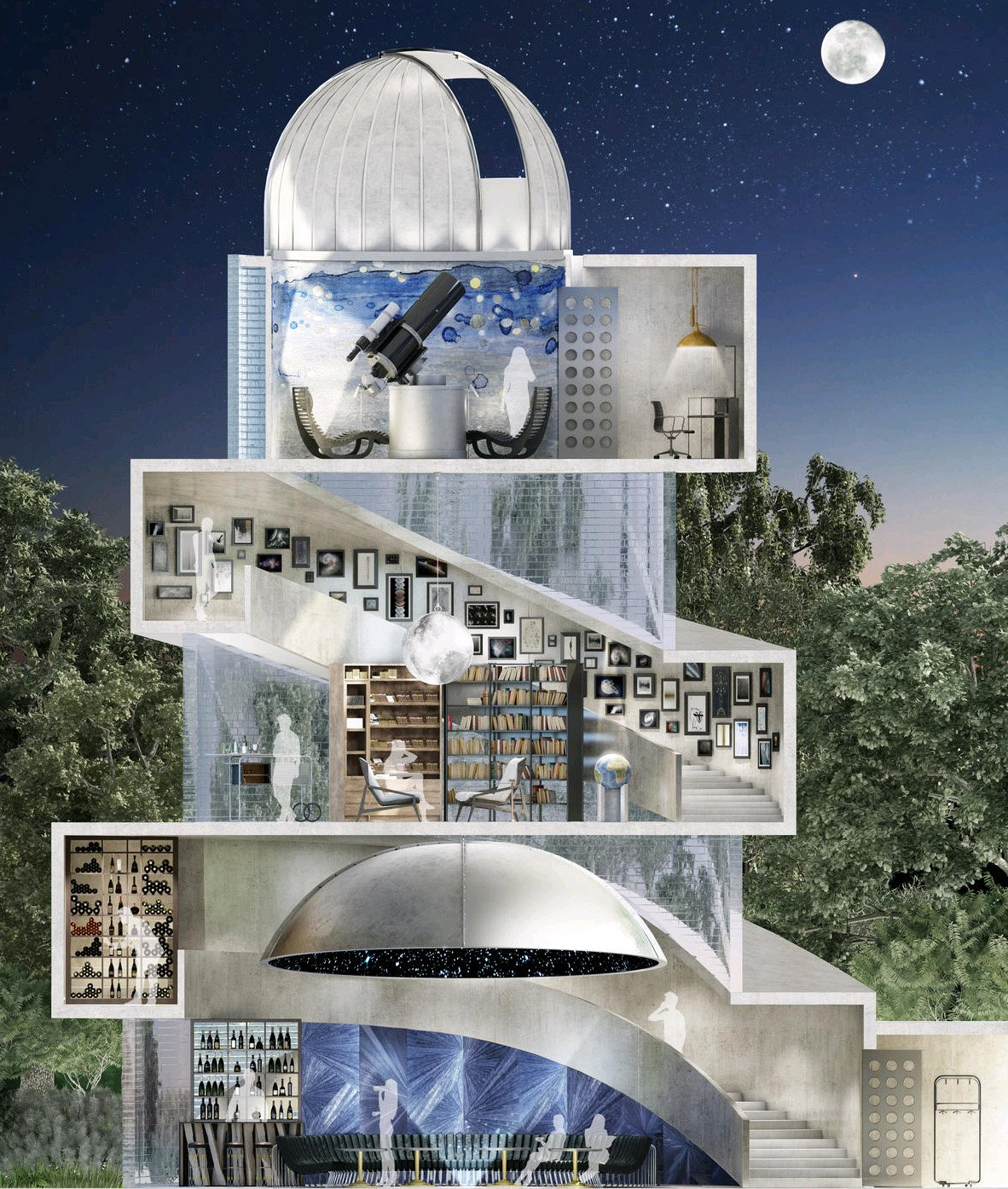 The Three Level Dome Structured Observatory Features A Home Cinema, A  Planetarium, A Karaoke Bar, A Library And A Lounge To Enjoy Cigars With The  ...