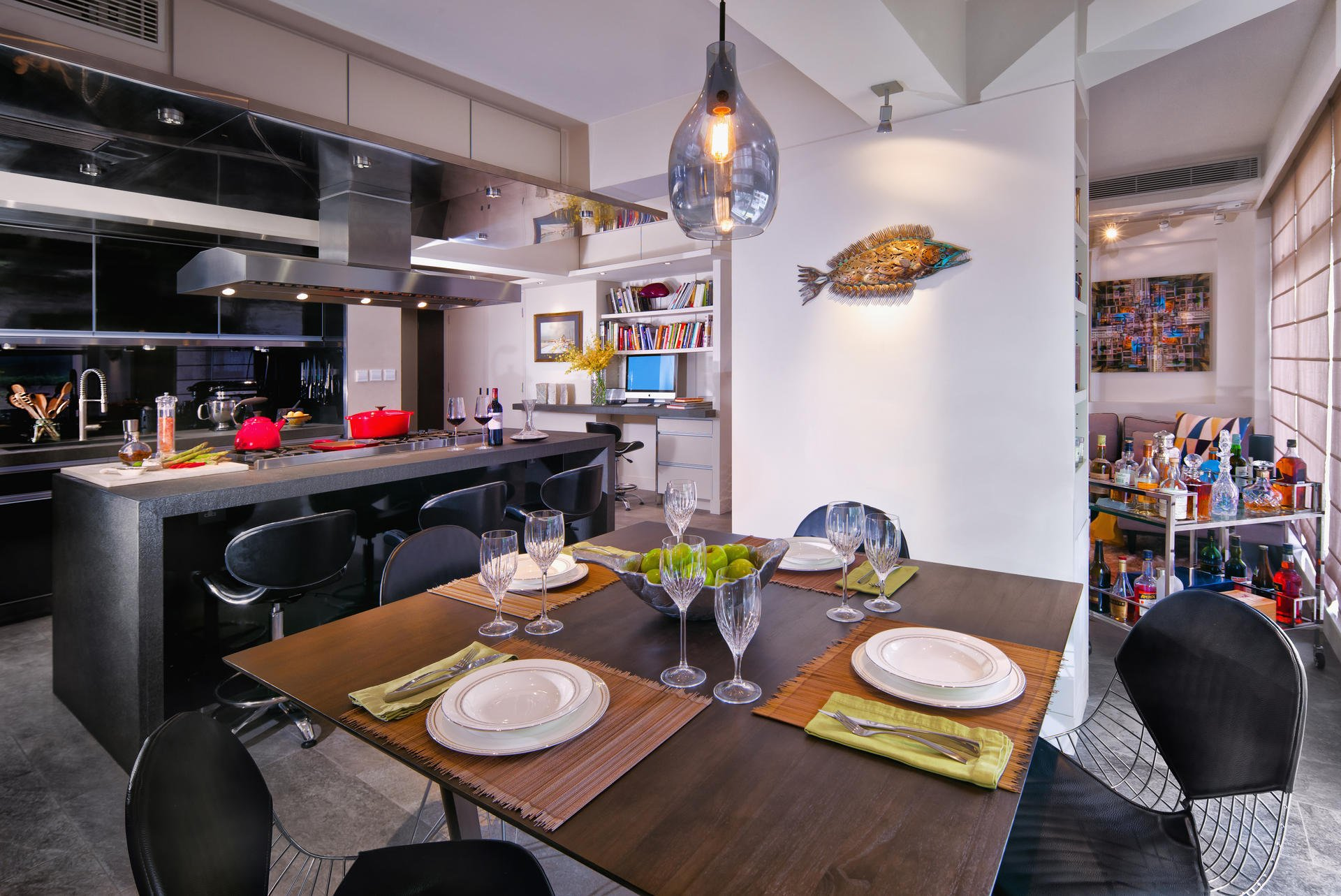 A hong kong flat where the kitchen takes centre stage for Dining room hong kong