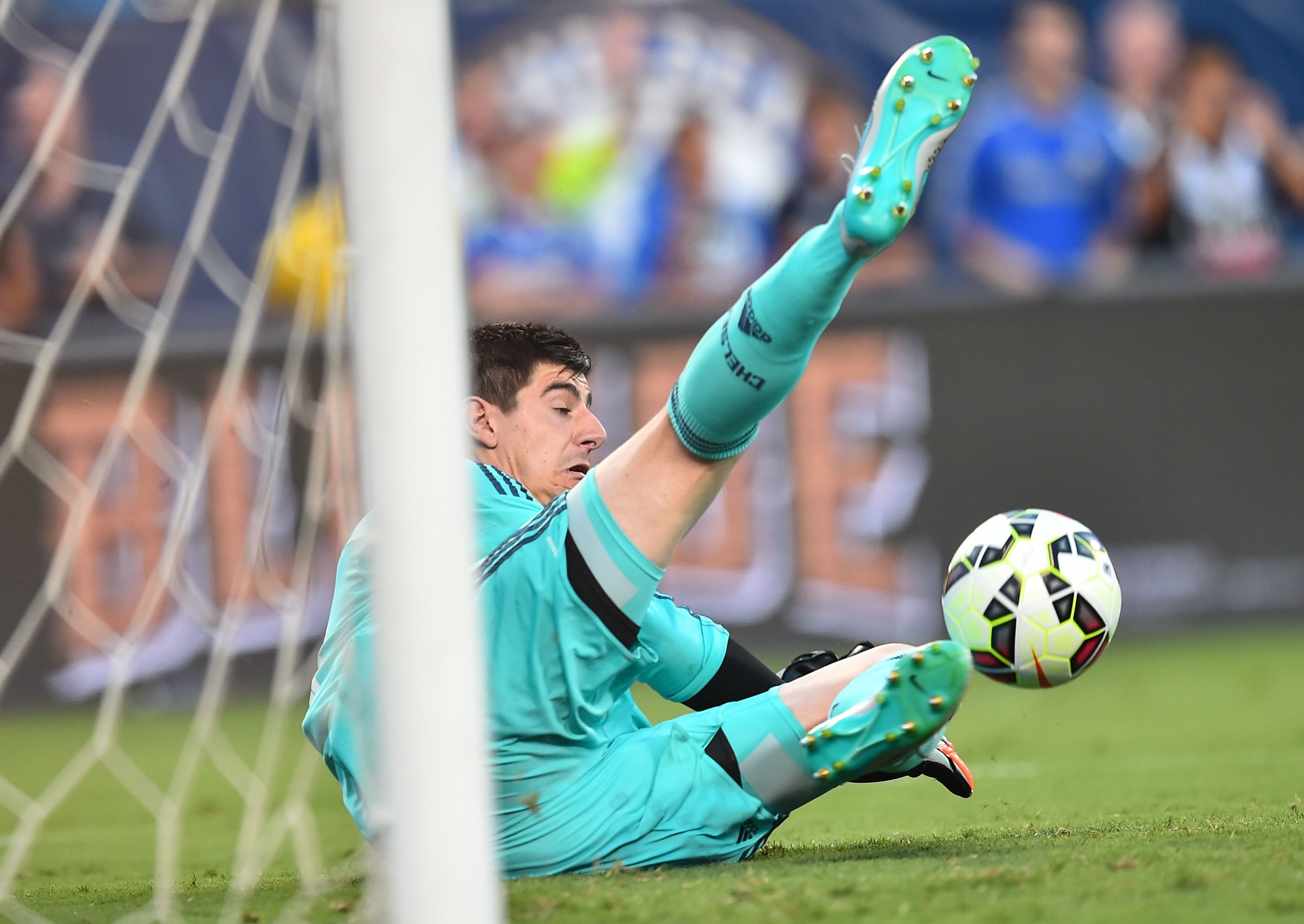 Goalkeeper Thibaut Courtois blasts home unstoppable penalty for