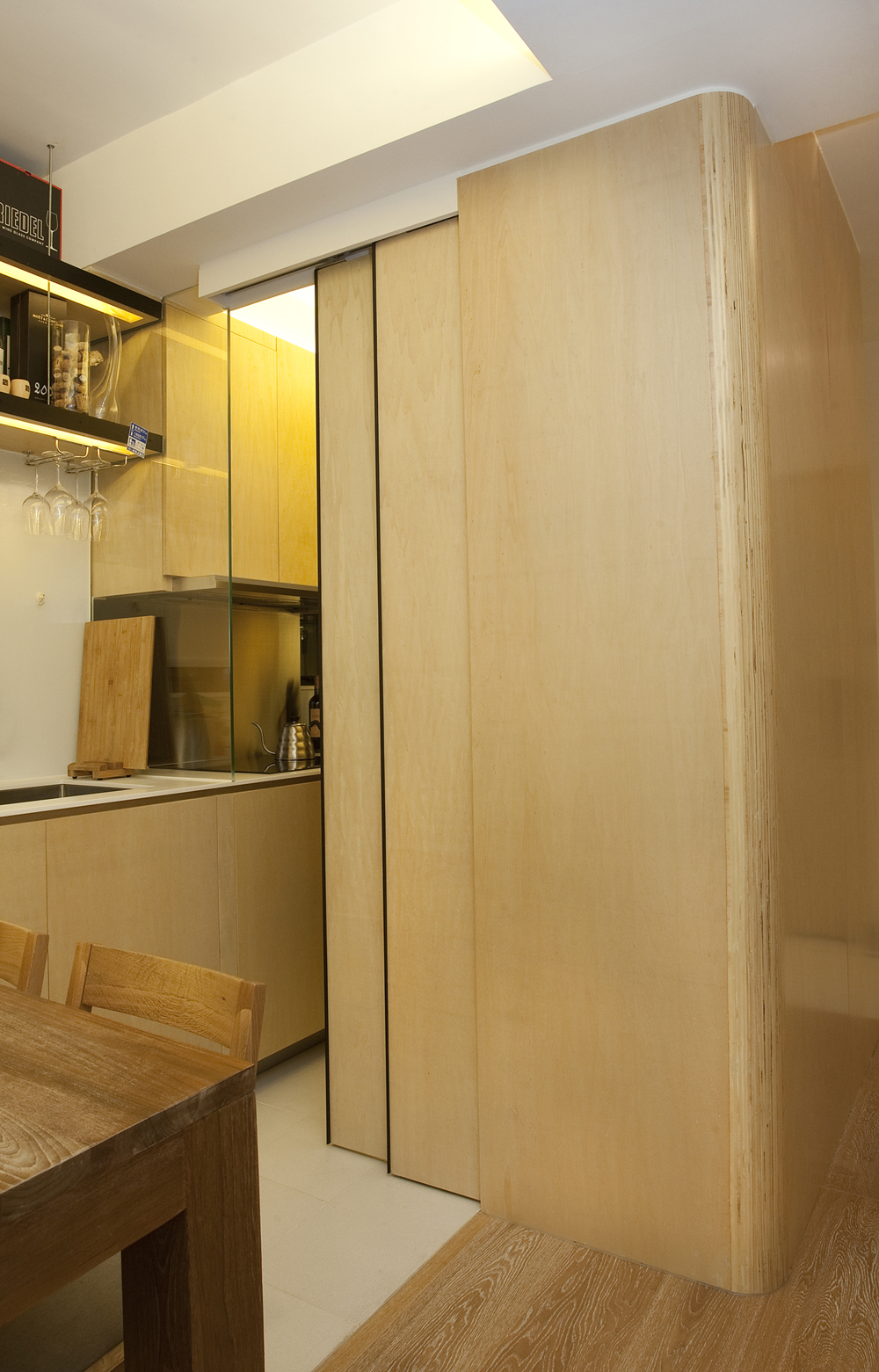 Inside the shape shifting 452 square foot hong kong flat dubbed the 39 city transformer 39 post - Kitchen sliding door price ...