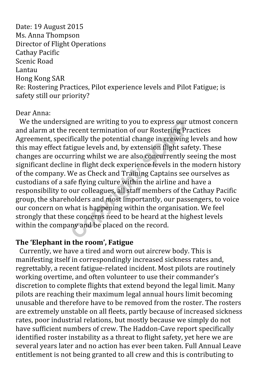 Read In Full Letter Exhausted Cathay Pacific Pilots Sent To