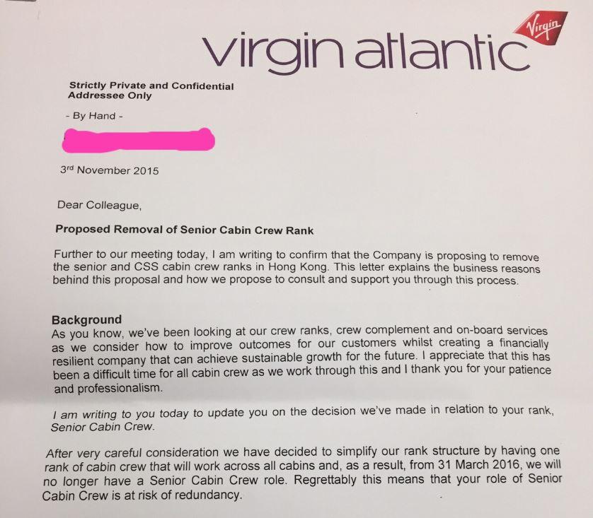 Virgin Atlantic Sacks 50 Senior Hong Kong Cabin Crew In