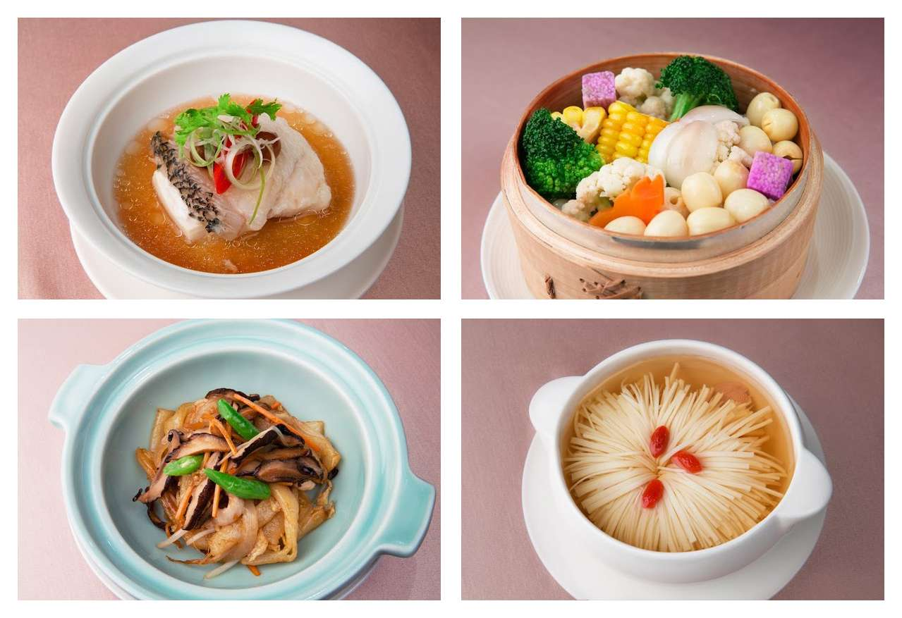 ... chrysanthemum chicken soup and Hakka-style stir-fried noodles. Photos