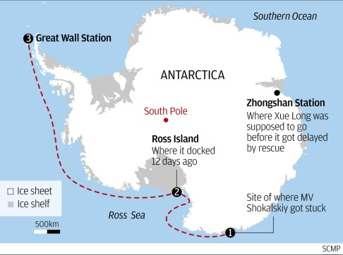 Snow Dragon Finally Begins Supply Operations At Chinese Research - Antarctic research stations map