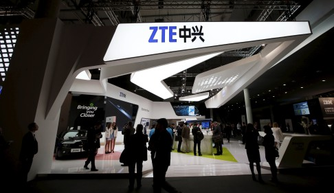 The ZTE stand at the 2014 Mobile World Congress in Barcelona. Photo: Reuters