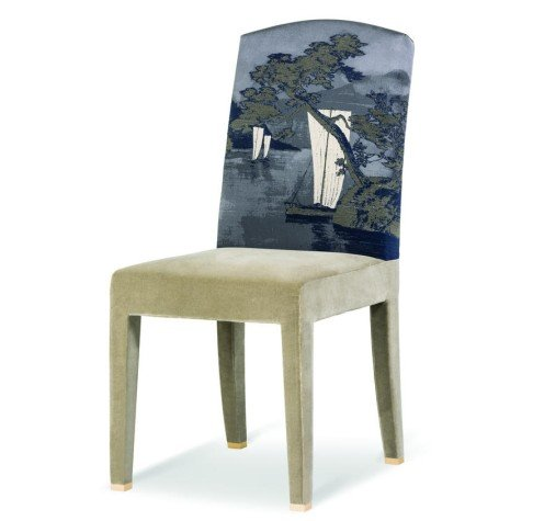 Armani Casa Inspired By Japanese Ukiyo E Painting This Dining Chair With Flowing Lines And Dreamy Landscape Is Elegant Comfortable