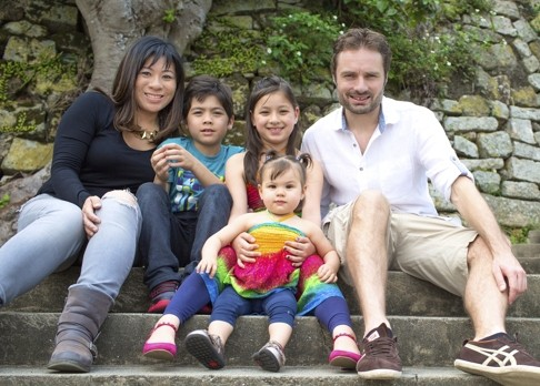 Amy Wong with her husband Mark Thatcher and children Ashton, Kira and Mia.
