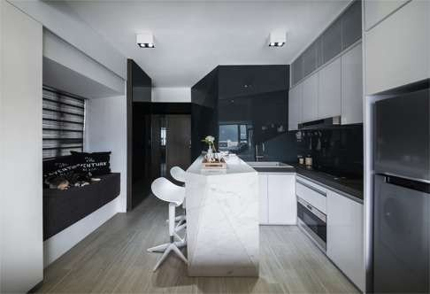 The Kitchen Accommodates A Full Sized Fridge And Oven  How Clever Design Made 270 Sq Ft Hong Kong Flat Spacious Home For