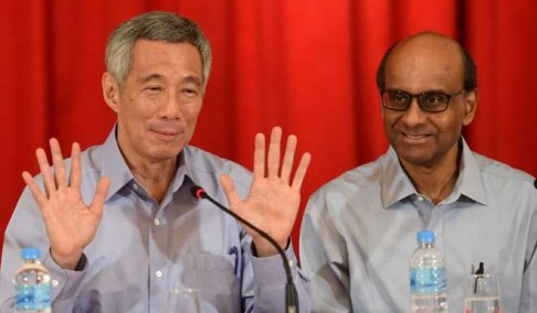 Singapore's Prime Minister Lee Hsien Loong with Deputy Prime Minister Tharman Shanmugaratnam. Photo: AFP