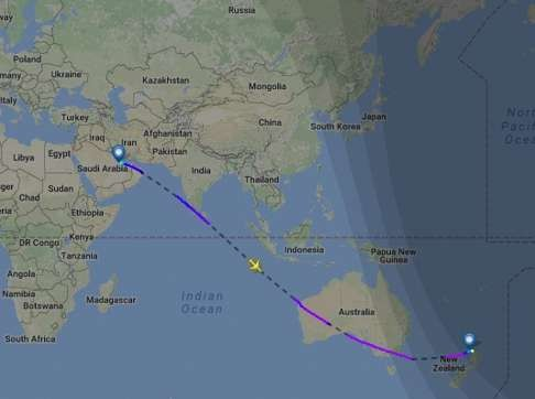 A map showing Sunday's journey from Doha to Auckland. Image: Flightradar24