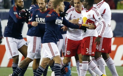 "New England Revolution players scuffle with New York Red Bulls players in a classic case of ""handbags"". Photo: AP"