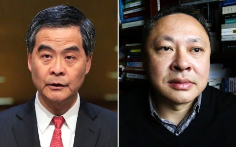 Chief Executive Leung Chun-ying (left) was apparently referring to the leaked emails that showed Occupy co-founder Benny Tai (right) had forwarded HK$1.45 million in donations from at least one anonymous donor to his employer to cover some of the expenses incurred by the Occupy movement. Photos: Felix Wong, Jonathan Wong
