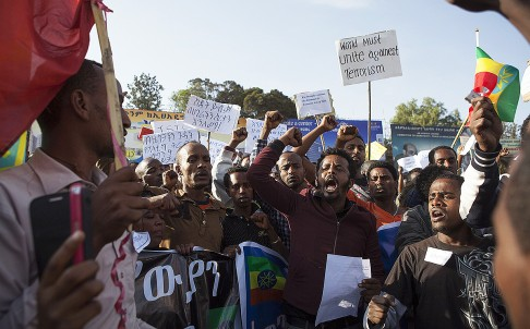 Protesters in Addis Ababa demand action against terrorism after about 30 Ethiopian Christians were killed by Islamic State militants in Libya. Photo: AFP