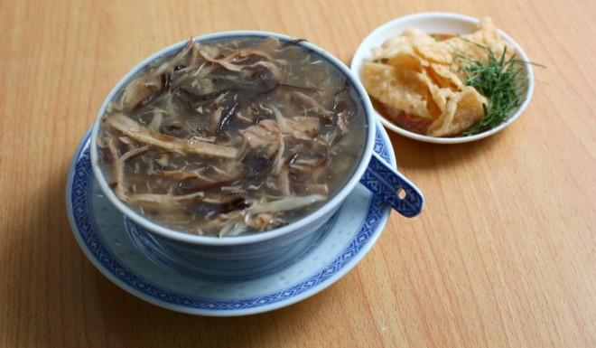 Snake meat is simmered in a broth made from bones, meat and herbs.