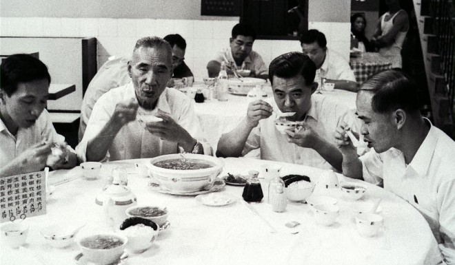 Hong Kong diners pictured in 1972 enjoying a meal of snake soup.
