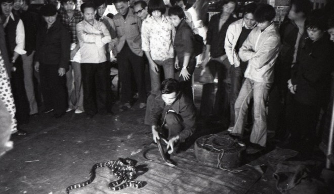 A man kills a snake in the streets of Hong Kong in the 1970s.