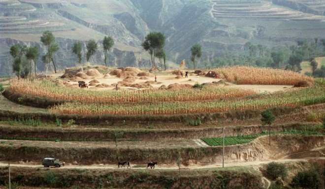 Chinese farmers in Pianguan county on the Loess Plateau in Shanxi Province.