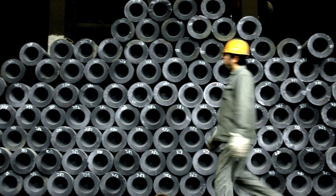 A worker at a Wuhan steel factory.