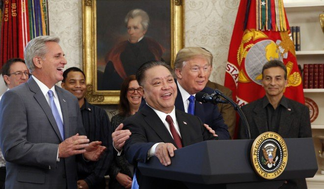 No longer welcome? Broadcom CEO Hock Tan was hugged by President Trump when he announced the plan to relocate his company to the US.