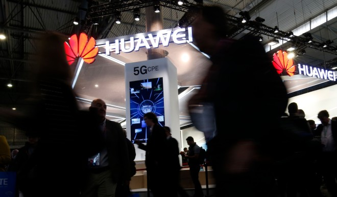 The Huawei stand at the Mobile World Congress on February 26, 2018.