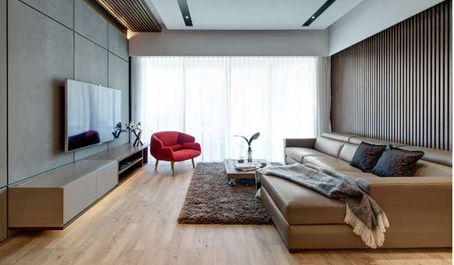 Living Room The Walnut Slatted Wall Covering HK42000 Was From Studio 93 Sofa HK20000 Came Poltrone In Italy Rug And